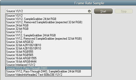 FrameRateSample02 Application with New Choices