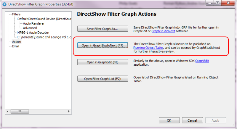 GraphStudioNext Integration in Filter Graph Actions