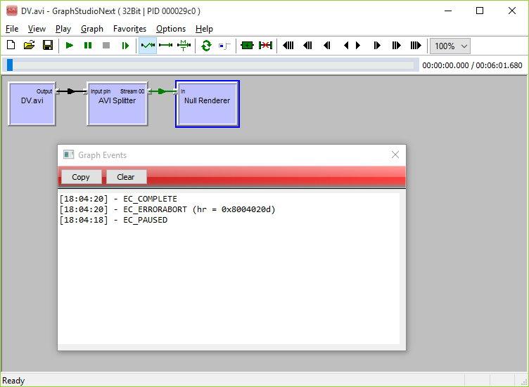 AVI Splitter bug in GraphStudioNext