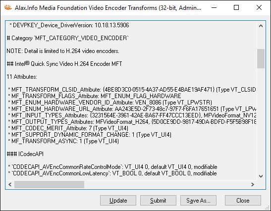 MediaFoundationVideoEncoderTransforms UI