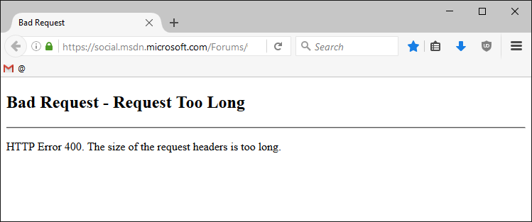 MSDN HTTP 400 Error