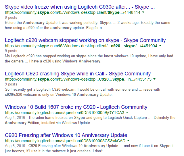 Video from Logitech cameras is freezing in Skype