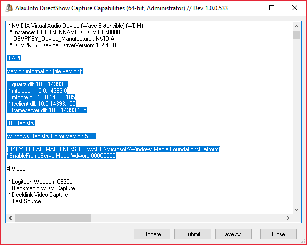Capture Capabilities: API Version and State