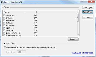 ProcessSnapshot is taking process minidump files