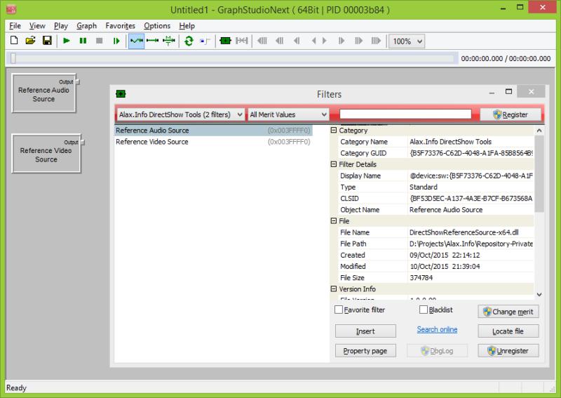 DirectShowReferenceSource filters in GraphStudio