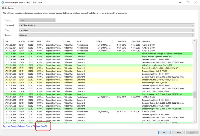 DirectShowSpy Media Sample Trace