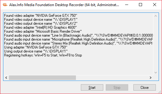 MediaFoundationDesktopRecorder UI